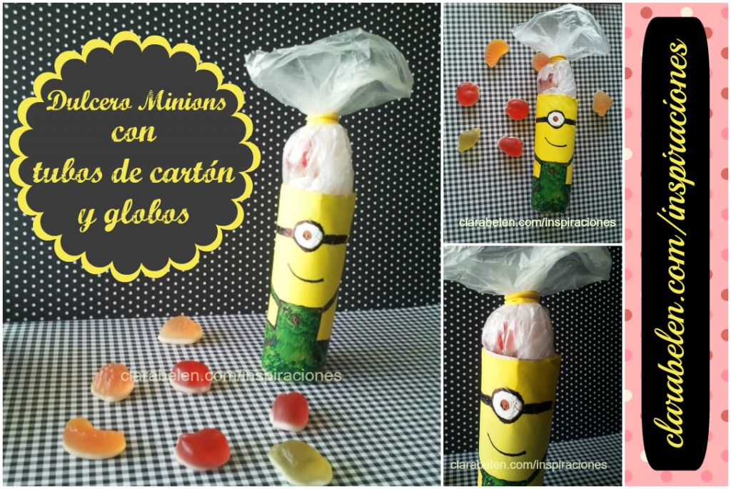 Dulcero de los Minions para cumpleaños hecho con rollos de cartón y globos