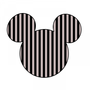 Cabeza Mickey rayas negras gris