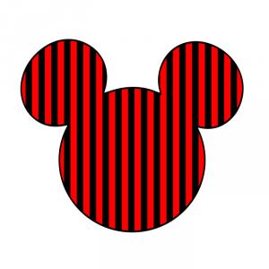 Cabeza Mickey rayas negras rojas